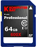 Komputerbay 64Go SDXC Secure Digital Extended Capacity Speed Class 10 UHS-I 600X Ultra High Speed Carte Ecrire Mémoire Flash 40 Mo/s 90 Mo/s Lire 64Go