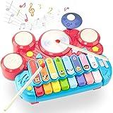 CubicFun Instrumentos Musicales Juguetes Bebes 1 año Piano Infantil Juego Tambor Teclado Piano y Xilófono Set, Juguete Musica