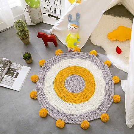 Amazonde MicBridalR Baumwolle Gestrickt Teppich Nordischen Stil Kreisfrmig Vorleger Wohnzimmer