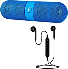 Elevea Mini Bluetooth Pill Speaker with S6 Wireless Bluetooth Headset for All Smartphone/iOS Device