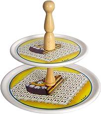 Spigarelli Ceramiche - Fruttiera 2 piani in ceramica bianca decoro Matilde /portadolcetti