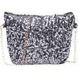 PUNTO UNO Grey Sling Bag in Sequence for Women