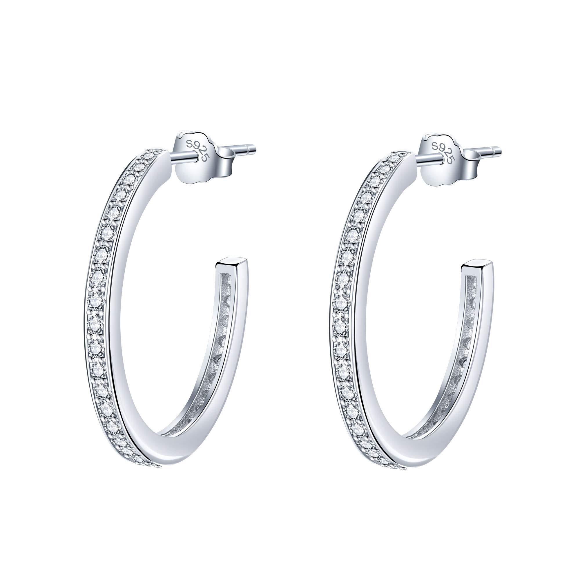 Lydreewam Pendientes de aro plata de ley 925 para mujeres con 3A circonia cúbica, diámetro 23mm