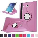 Samsung Galaxy Tab E 9.6 Coque,Flip Case Cover Avec Stand Étui en PU Cuir Rotative 360 degrés Housse de Protection pour Samsung Galaxy Tab E 9.6 Pouces SM-T560 / T561 Coque en Cuir Protecteur (Rose)