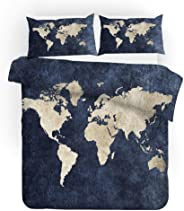 YYHQHE World Map Bedding Set Bed Sheet Sets Duvet Cover Pillow Case 3pcs Queen King Twin Size 3D Digital Printing Home Texti