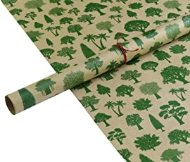 The Drawing Board Tdb Forest Gift Wrapping Paper Pack Of 6 Sheets, 12 Gift Tags And 6M Ribbon/Paper Thread
