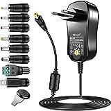 PChero 24W Alimentatore Universale con 8 Spine CC per 3V-12V Elettronica Domestica e Dispositivi USB - 2000mA Max