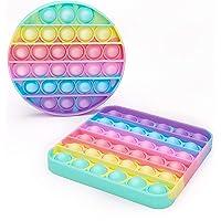 [2er-Pack] Runde+Quadrat Pop Fidget Toy Set Box, Pop Set, Push Pop Pop Bubble Fidget Toys, Baby Spielzeug, Pop…