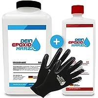 Resine epoxy transparente 3,25 kg | Qualité professionnelle limpide et à faible odeur | Résine coulée pour bois + gants…