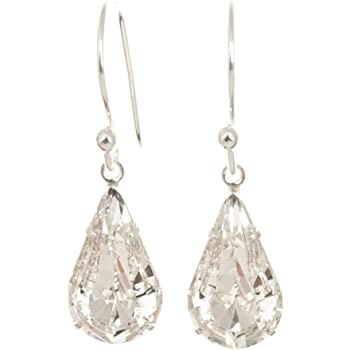 pewterhooter 925 Sterling Silver drop earrings made with teardrop Diamond White crystal from SWAROVSKI® London Box