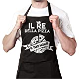 """Grembiule da cucina personalizzato con il tuo nome """"Re Della Pizza"""" per chef, grill, barbecue, pizzeria, bar, vari colori dis"""