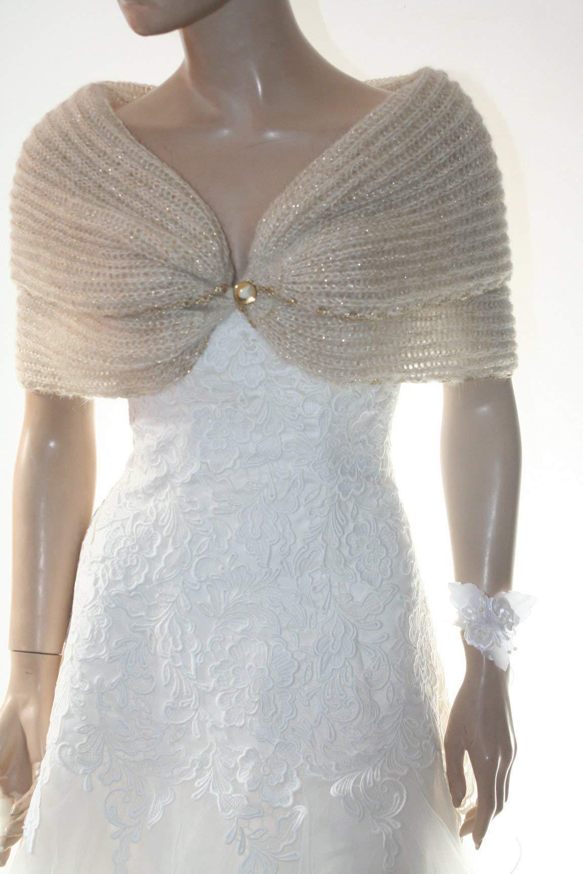 Ivory Gold Shrug Evening Mohair Jacket Knitted Shawl Wedding Bolero Jacket,Gold Knitted Cape Winter Wedding Wrap Bridesmaid Cover Up