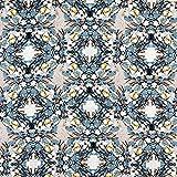 Fabulous Fabrics Kleiderstoff Blumenbouquet – blaugrau — Meterware ab 0,5m — zum Nähen von Kleidern, Tuniken und Tops und Shirts