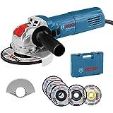 Bosch Professional 0615990L6U GWX 750-125 Meuleuse d'Angle (Disque Diamètre 125 mm, avec Jeu de 5 Disques de Tronçonnage et de Meulage, Housse de Protection 125 mm, en Coffret) - Édition Amazon Bleu
