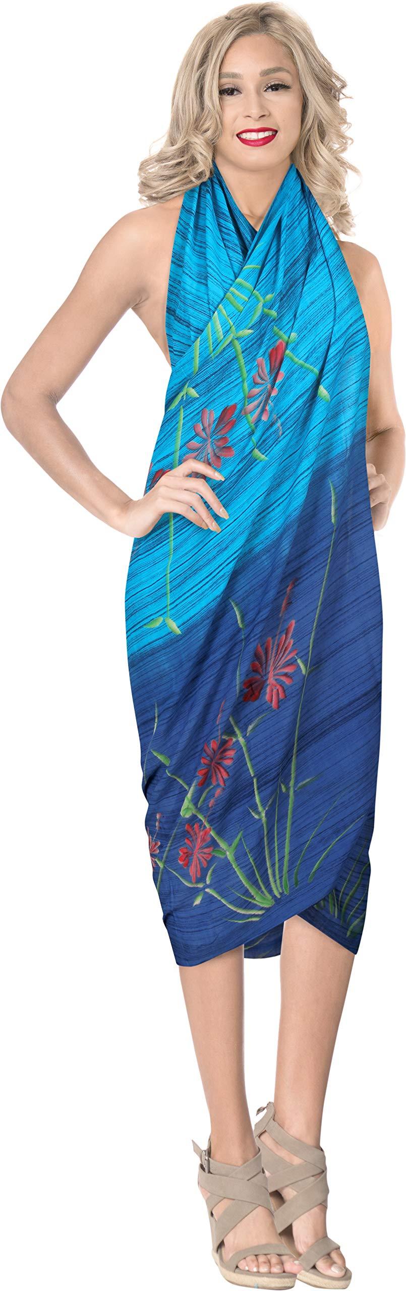 LA LEELA Rayon Coprire Costume da Bagno Avvolgente Sarong Tie Dye Un 4 spesavip