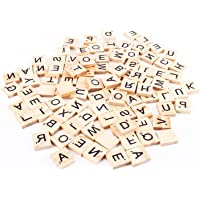 HASTHIP® 100 Wooden Scrabble Tiles Letter Tiles Wood Pieces DIY Wood Gift Decoration Making Alphabet Coasters and…