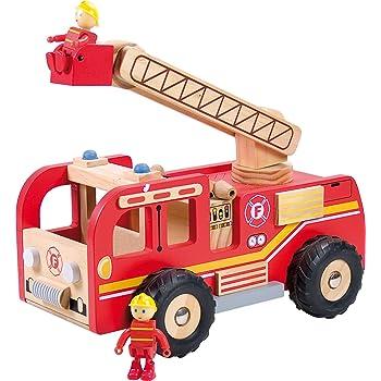 camion de pompier en bois jouet enfant gar on 2ans et plus. Black Bedroom Furniture Sets. Home Design Ideas