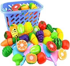 Inditake 23Pcs/Set Plastic Fruit Vegetables Cutting Toy Early Development and Education Toy for Baby - Color Random