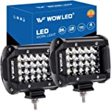 WOWLED Offroad 4 Inch Quad Row LED Pods (2 Pack), 7200LM Spot Beam 4 Rows LED Light Bar Off Road Work Light Driving Fog…