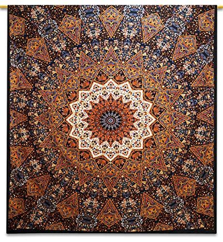 Floral Bettdecke In Voller Größe (Mandala Wandteppich indischen Baumwollteppich voller Größe Blatt Wand hängen Hippie 92