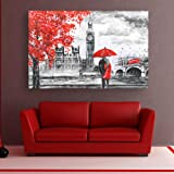 Inephos Framed Abstract Canvas Painting - Beautiful Couple Love Art Wall Painting for Living Room, Bedroom, Office, Hotels, D