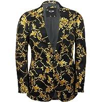 Xposed MensBlack Gold Floral Brocade Flower Print Fitted Blazer Italian Designer Casual Suit Jacket Coat