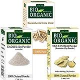 INDUS VALLEY Organic Sandalwood Face Pack + KaolinClay & Multani Mitti (200+100+200=500g)