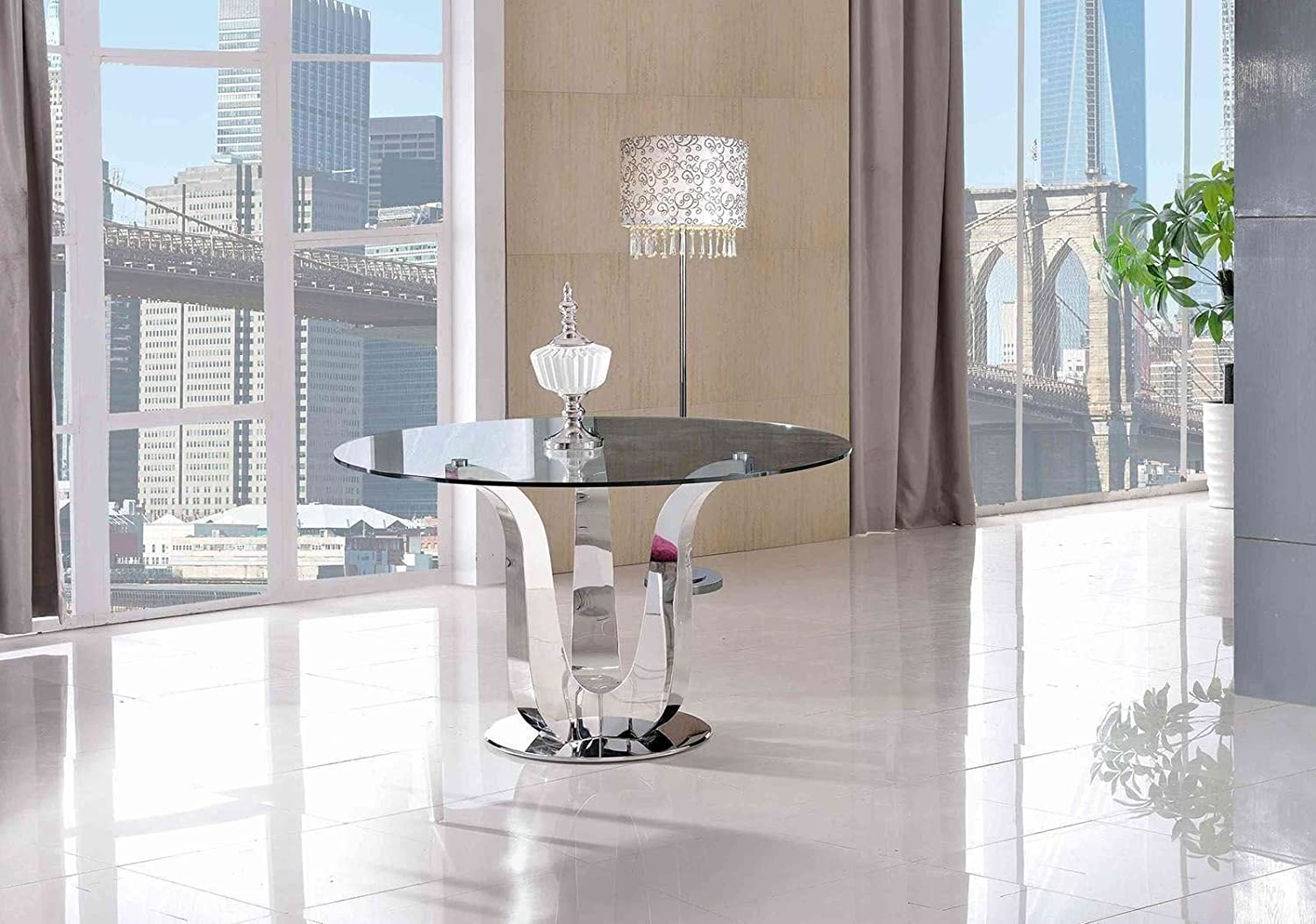 Naples Designer Round Glass Dining Table Amazoncouk Kitchen Home