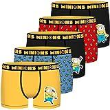les minions Lot de 5 Boxers en Taille Enfant 100% Coton de la Collection Depicable Me Garçon
