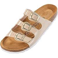 Palado® Damen Sandale Capri   Made in EU   Sandalen in 6 Farben   Pantoletten mit Natur Kork-Fussbett und angenehm…