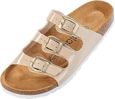 Palado® Damen Sandale Capri | Made in EU | Sandalen in 6 Farben | Pantoletten mit Natur Kork-Fussbett und angenehm weichem Fußbett | Sohle aus feinem Velourleder