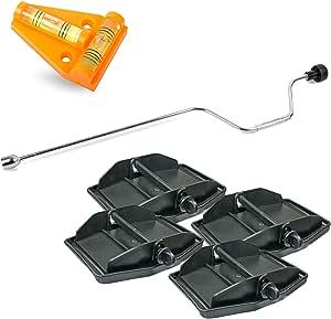 Hypercamp Maxi Foot Stützplatten Set 4 Stück Zur Sicherung Der Kurbelstütze Inkl Handkurbel Und Kreuz Wasserwaage Für Wohnmobil Oder Wohnwagen Auto