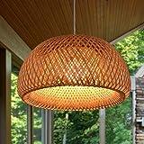 Vintage Tressé Lustre E27 En Bambou Naturel Lampe En Osier Lampe Manuel Creative Jardin Lumière Lustre Hauteur Réglable Lustr