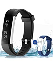 HolyHigh 115U Smart Fitness Band, Waterproof Fitness Tracker Watch for Men Women Kids Step Counter Claroie Counter Messages Call Alarm Reminder Cameral Shoot