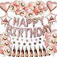 SPECOOL Palloncini Compleanno in Oro Rosa Compleanno Decorazioni per Feste, 46 Pezzi Articoli per Feste con Strass Metallizzato Champagne Bunting Palloncini Confetti Star Ghirlanda
