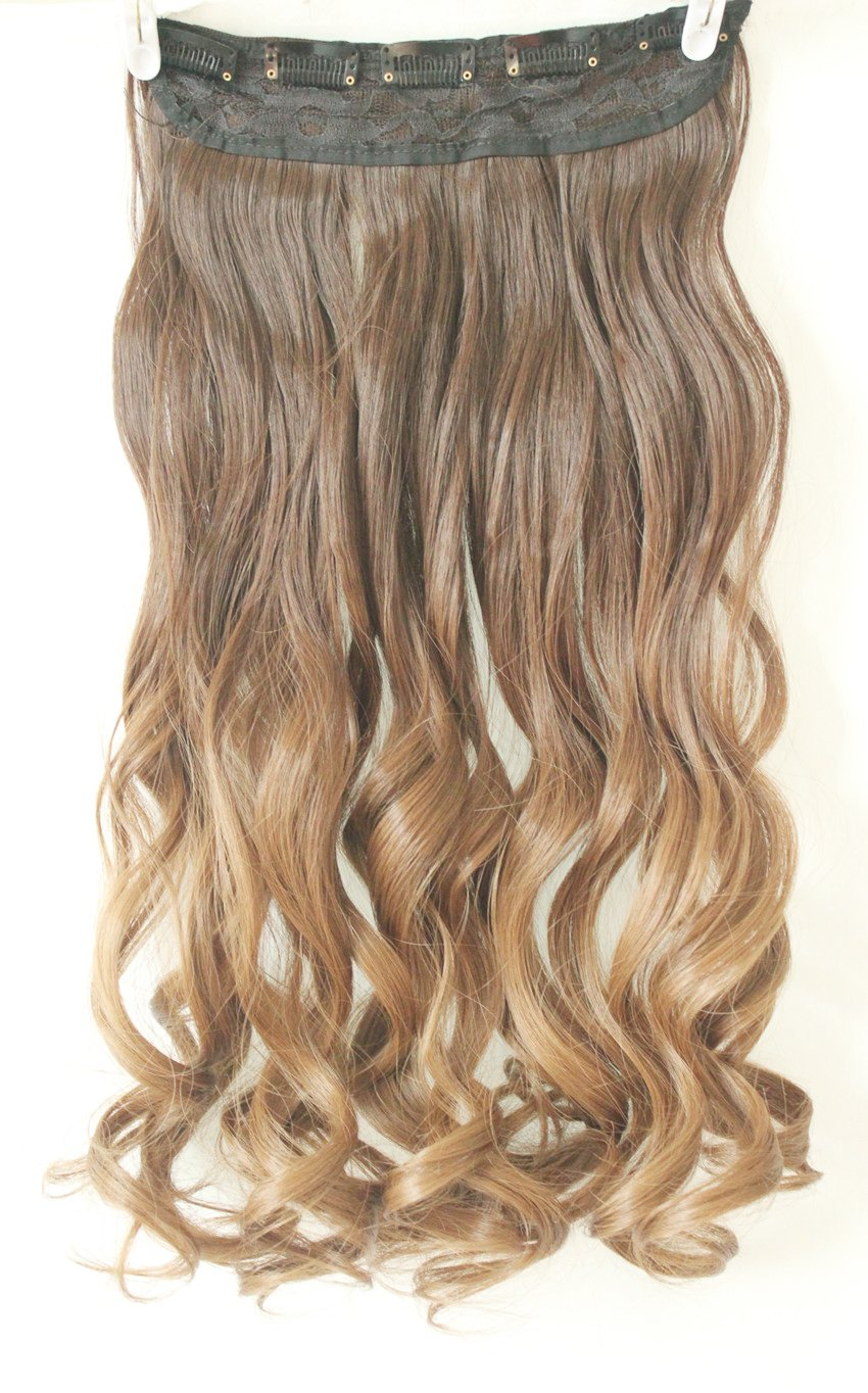 34 full head clip in hair extensions ombre one piece 2 tones wavy 34 full head clip in hair extensions ombre one piece 2 tones wavy black to dark blonde amazon beauty pmusecretfo Images