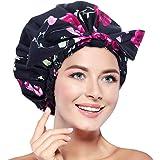 Cuffia da doccia da donna, impermeabile, riutilizzabile, extra large per capelli lunghi, regolabile per la maggior parte dell