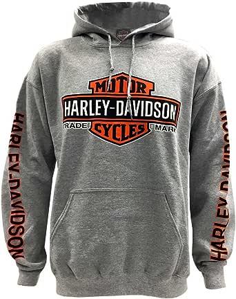 Harley Davidson Men's Bar & Shield Logo Pullover Hooded Sweatshirt, Gray