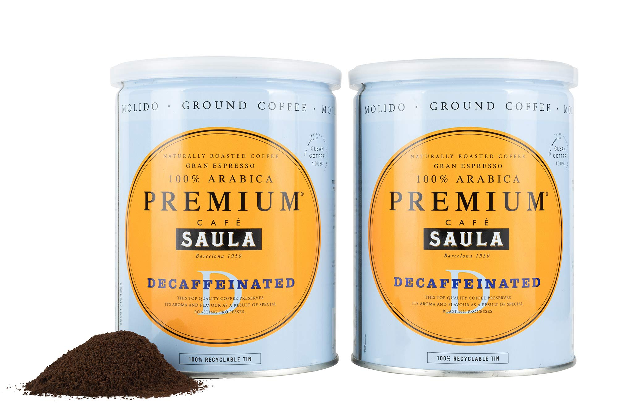 Premium Decaffeinated Ground Coffee – Café Saula's Award Winning 100% Arabica Spanish Espresso Blend 500g (2X 250g)