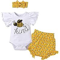 FYMNSI Tenue de Vêtements pour Bébé Nouveau-né Filles Ete Ensemble, Manche Courte Body Barboteuse et Short Imprimé Fleur…