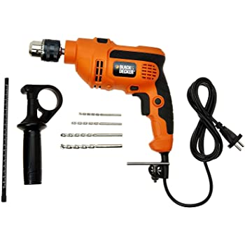 Black & Decker KR554RE 550-Watt 13mm Variable Speed Reversible Hammer Drill + Black & Decker G720R 4-Inch/100mm 820-Watt Angle Grinder