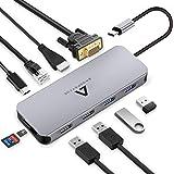 Anoopsyche Hub USB C 10 in 1, Adattatore USB C con HDMI 4K, 1080P VGA, Gigabit Ethernet RJ45, 4 USB 3.0/2.0, Type C PD…