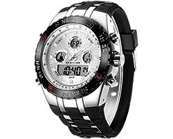 Montres de Sport pour Homme étanche, chronomètre, Date, Alarme, Lumineux, numérique, analogique, Militaire, avec Bracelet en