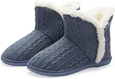 NineCiFun Ladies' Knit Bootie Slippers Womens Winter Warm Outdoor Indoor Boot Slippers House Shoes