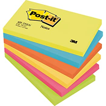 """Post-it """"Rainbow Notes"""" bunte Haftnotizen 76 x 127 mm - gesteigerte Aufmerksamkeit durch knallige Farben – 6 Notizblöcke à 100 Blatt in Neon Grün & Orange, Ultra Blau, Gelb & Pink"""