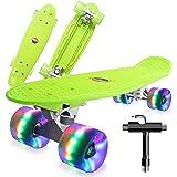 Saramond Skateboards Compleet 55 cm Mini Cruiser Retro Skateboard voor kinderen Jongens Meisjes Jeugd Volwassenen Beginners,