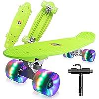 Cutemelo Skateboards 55cm Mini Cruiser Skateboard Completo retrò per Ragazzo, Ragazza, Giovani, Adulti, Principianti con…