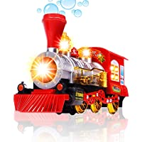 MWT TOYZ Battery Operated Bump & go steam Train Engine with Bubbles Blowing Music Flashing Light- Assorted Colors