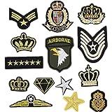 Bella 14pcs Parches Apliques Patches Sticker Parche Termoadhesivo Bordado US Ejército Corona Estrella Insignia Badge Estilo m