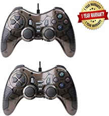 Galaxy Hi-Tech Pair of Dual Vibration USB Wired Controller with LED Indicators for PC Laptop, Pack of 2 Gamepad/Joystick with Dual Vibration, 1 Year Brand Warranty (Gray)